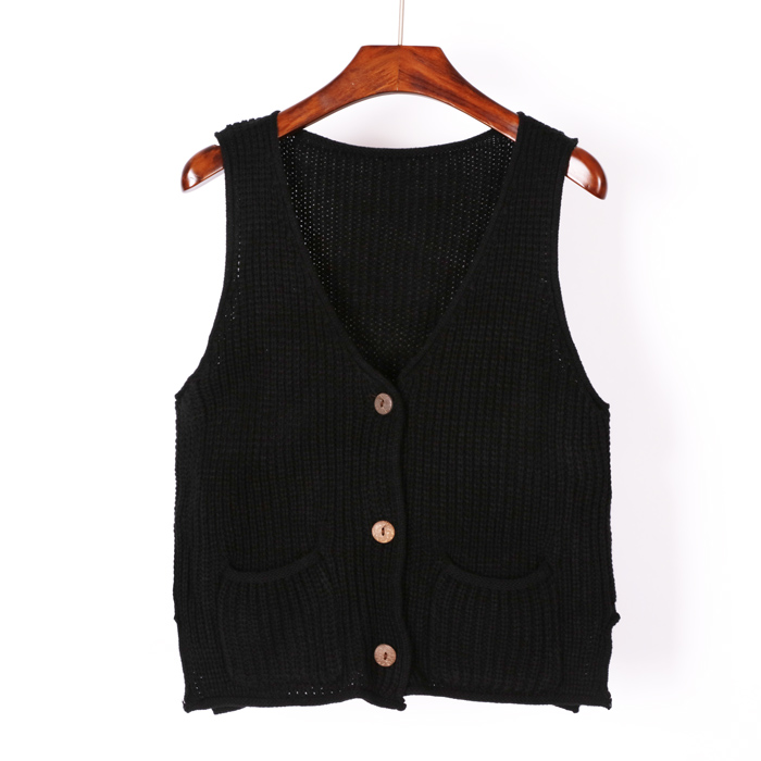 Women Cardigan Vest Autumn Winter Fashion Knitted V-Neck Sleeveless Women Sweaters Casual Pockets Short Vest Waistcoat B16