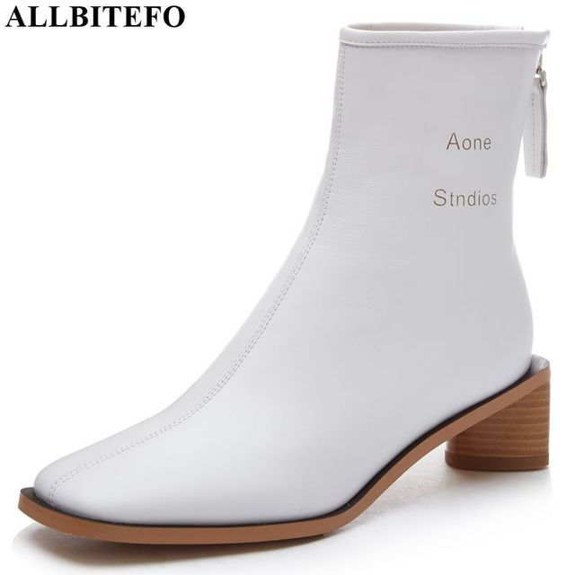 ALLBITEFO High quality genuine leather women boots Pure color Autumn Winter comfortable ankle boots fashion boots Square toe