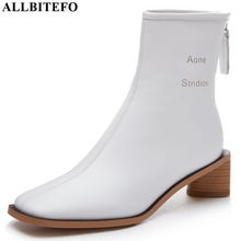 ALLBITEFO Hohe qualität aus echtem leder frauen stiefel Reine farbe Herbst Winter komfortable stiefeletten mode stiefel karree