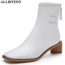ALLBITEFO wysokiej jakości oryginalne skórzane buty damskie czysta kolor jesień zima wygodne botki do kostki moda buty kwadratowe toe