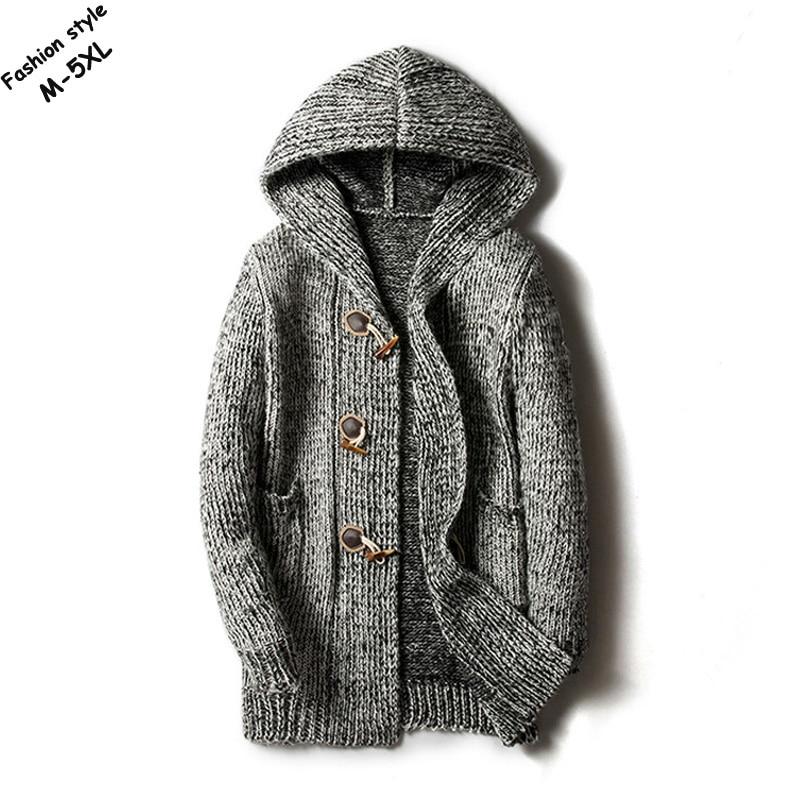 2018 automne et hiver hommes à manches longues chandails à capuche casual corne bouton cardigan épais tricoté vêtements d'extérieur mode hommes manteaux