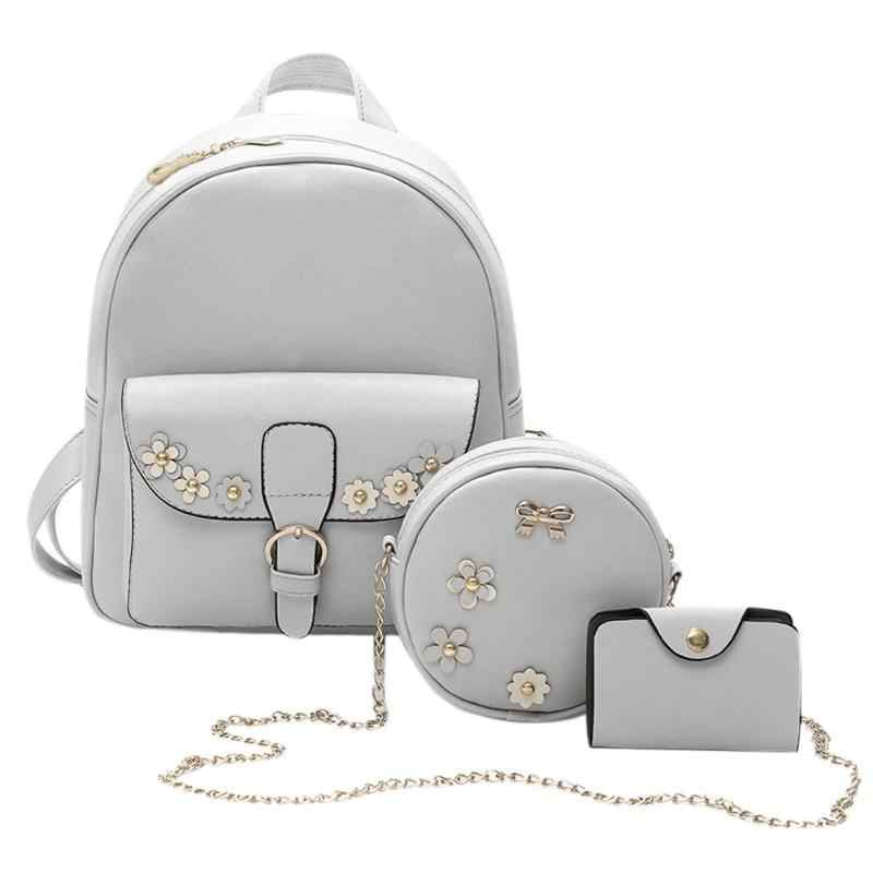 85541c8e7817 3pcs Set Bowknot PU Leather Women Backpacks Cute School Backpacks For Teenage  Girls Female Shoulder