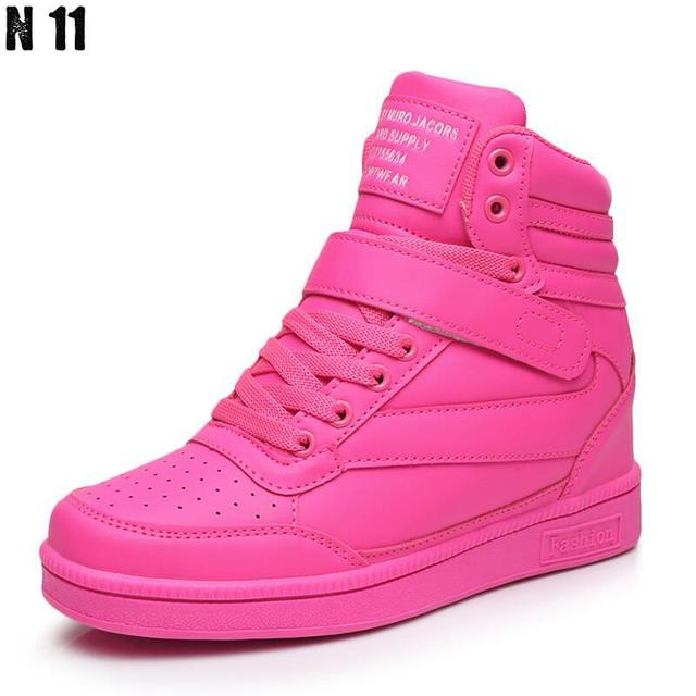 New 2017 Spring Autumn Ankle Boots Heels Shoes Women Casual Shoes Height Increased High Top Shoes Mixed Color Winter Boots
