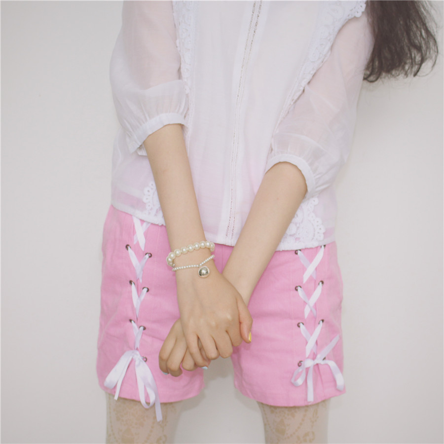 Summer Japanese Soft Sister Pink   Shorts   Cute Women Lolita Kawaii Bandage Corduroy Female   Short   Pants Lace High Waist Blue   Shorts