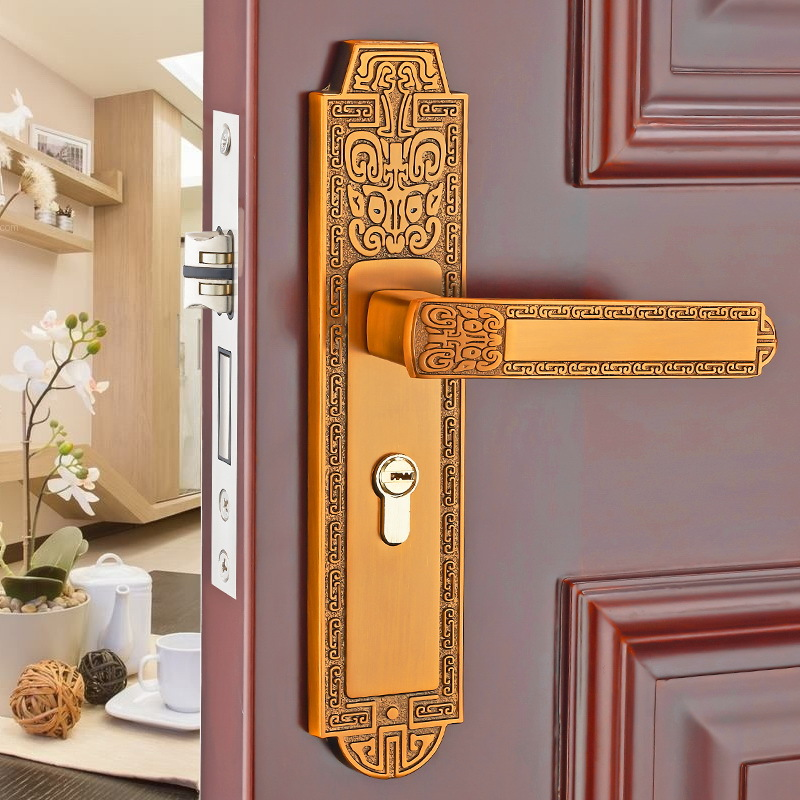 European interior bedroom door lock mechanical door lock household mute solid wood door handle modern simple fashion interior room door lock black split mechanical mute solid wood bedroom door lock creative bird handle lock