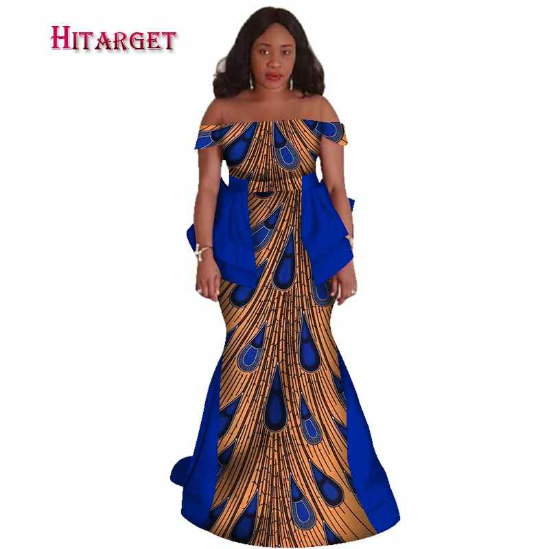 aa9bd3d409d African Bazin Riche Dresses for Woman 2018 African Clothing Wax Print Sexy  Slash Neck Mermaid Dashiki