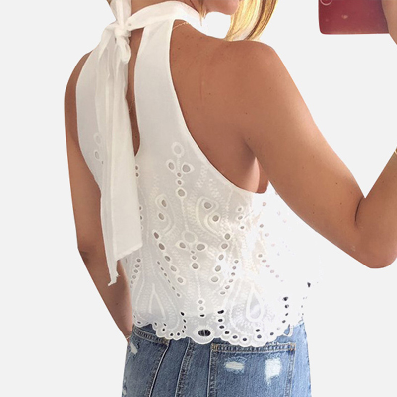 White Chiffon Off Shoulder Women's Blouse Top Cropped Hollow Out Embroidery Halter Lace Up Sexy Blouses And Tops Women Summer