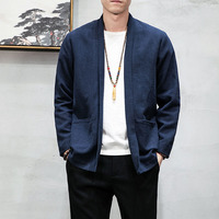 2019 Spring and Autumn Cotton and Linen Linen Trend Brand Casual Fashion Loose Solid Color Comfortable Jacket Jacket Male