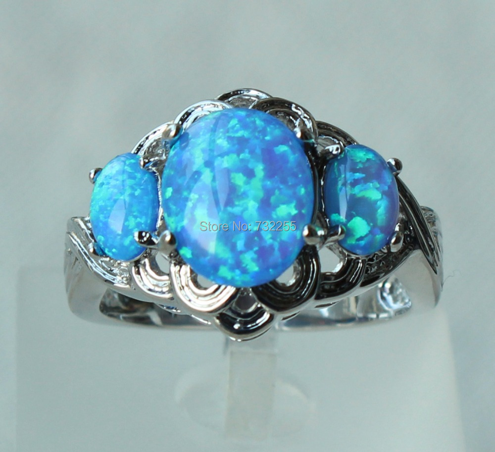 blue opal wedding rings Blue Opal Ring Adjustable Cocktail Ring Glass Stone with Silver Ring Band Art Deco Jewelry