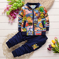 1-4 T 2016 Crianças Primavera Outono Conjunto de Roupas de Bebê Das Meninas & Meninos Conjuntos Roupas de bebê Menina Toddle Menina Roupas Casaco + Calças de Algodão roupas