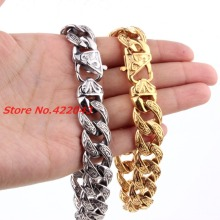 New Fashion Mens Bangles 15mm Solid Gold color  or Silver Stainless Steel Cast Flower Cuban Link Chain Bracelets 9″ Jewelry