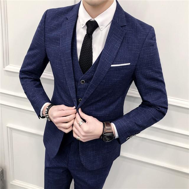 1ebf5287f48 Men Dot Stripe Suit 2018 New Latest Coat Pant Designs Terno Slim Fit Costume  Homme Wedding Dress Suit Male Plus Size 5xl