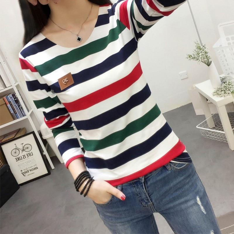 HTB1xfxmXO6guuRkSmLyq6AulFXac - Autumn Korean Female harajuku Long Sleeve T-shirt Women Colorful