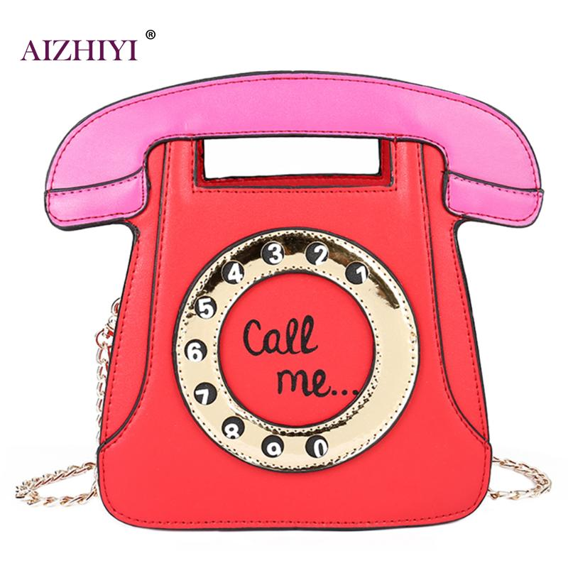 Women's Handbags New Fashion Telephone Style Creative Funny Shoulder Bag Personalized Phone Chain Crossbody Messenger Bags creative apple style wired telephone light green