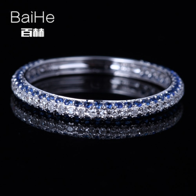 BAIHE Sterling Silver 925 0.6CT Certified H/SI Round 100% Natural Diamonds& Sapphires Wedding Women Trendy Fine Jewelry Ring