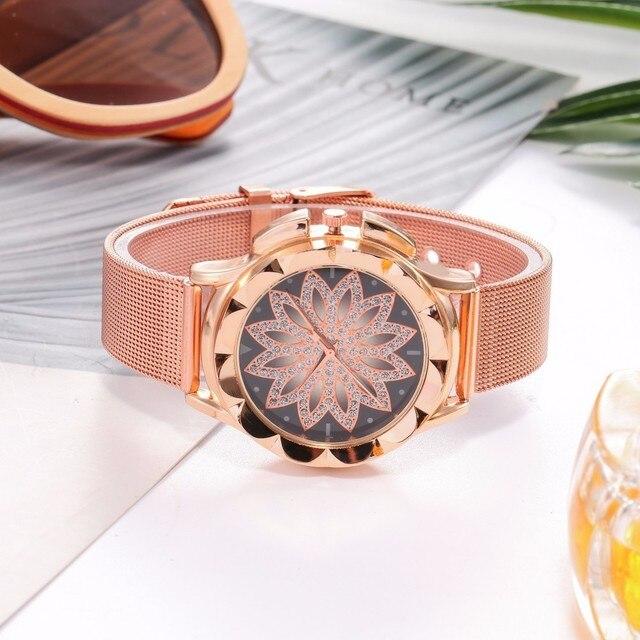 Fashion Women Rose Gold Flower Rhinestone Wrist Watches Luxury Casual Female Quartz Watch Relogio Feminino Drop Shipping 4