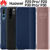 Huawei P20 pro case clear view Smart touch view flip cover 100% original official Huawei P30 Pro leather flip phone case funda