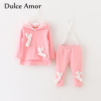 Dulce Amor Baby Girl Clothes Set Spring Autumn Casual Children TrackSuits Cotton Bunny Patches Hoodies Pants
