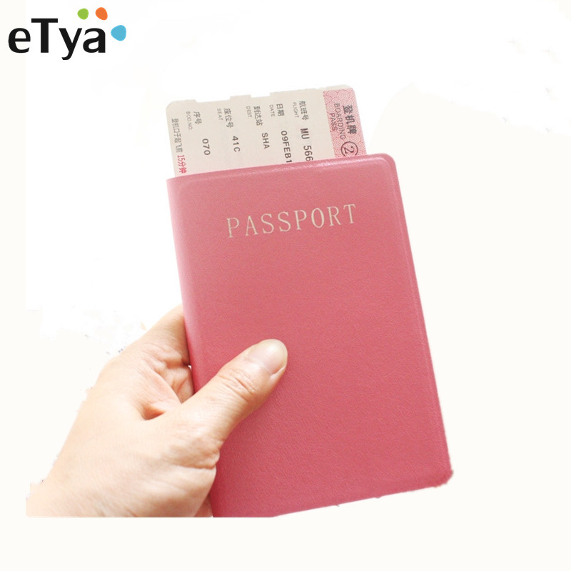 eTya Fashion Travel Passport Cover Pu Leather Pink Black Passport Holder Protector ID Card Ticket Organizer Case Wallet marksojd