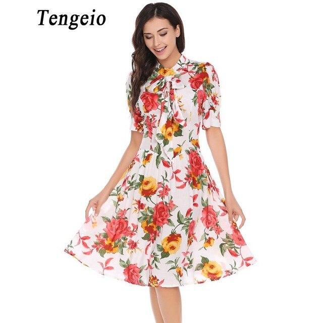 Tengeio Women Summer Boho Floral Rockabilly Dress Lantern Short Sleeve Retro  Party Dresses White Vintage Vestidos