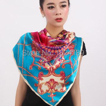 2014 nova famosa marca desigual alta qualidade floral impresso grande praça vermelha womenautumn100 % pure silk scarf 110 * 110 cm SK126