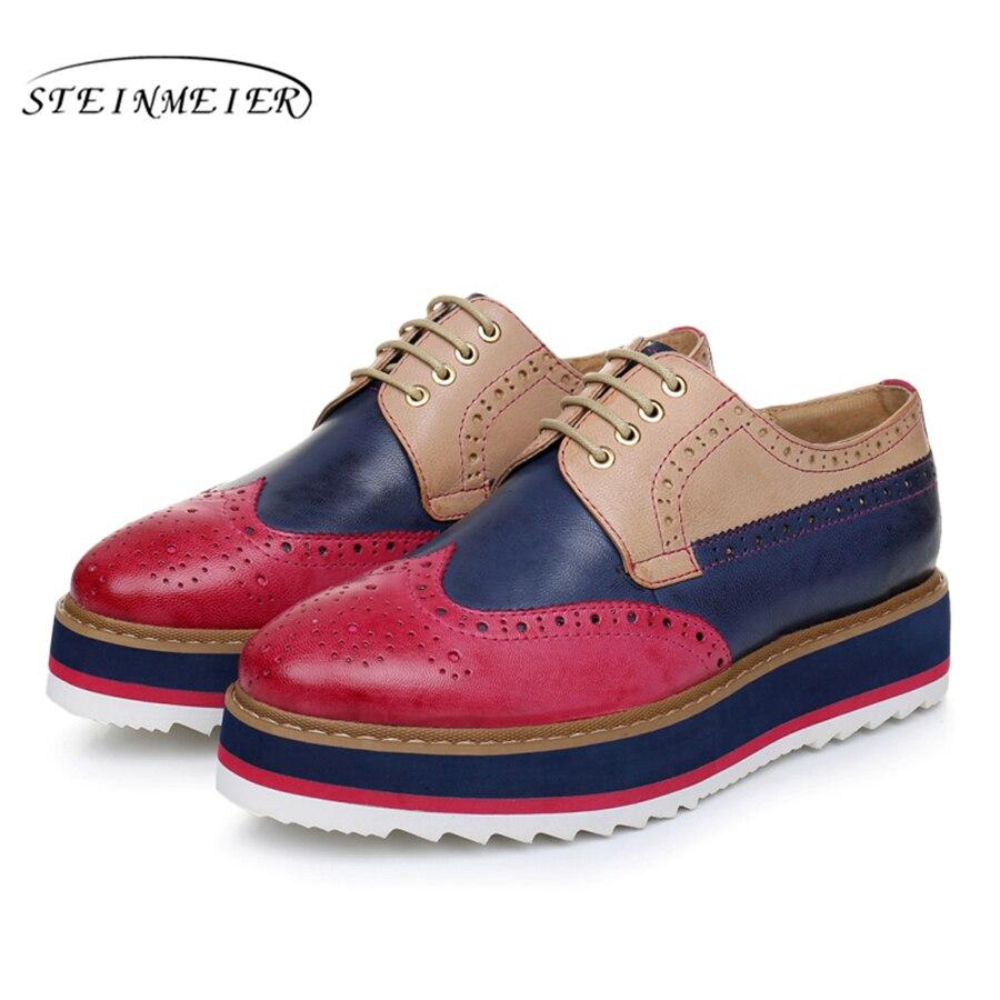 Genuine sheepskin leather brogue designer vintage yinzo flat shoes handmade flat platform red oxford shoes for
