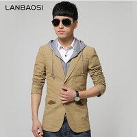 LANBAOSI Stylish Mens Blazer Jacket False Two Piece Patchwork Solid Slim Fit Blazers Suit Men Soft
