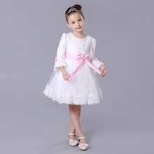 2015 New Girl White Party Wedding Flower Embroidered Flare Three Quarter Sleeve Princess Dresses Bridesmaid Pageant Ball Gowns