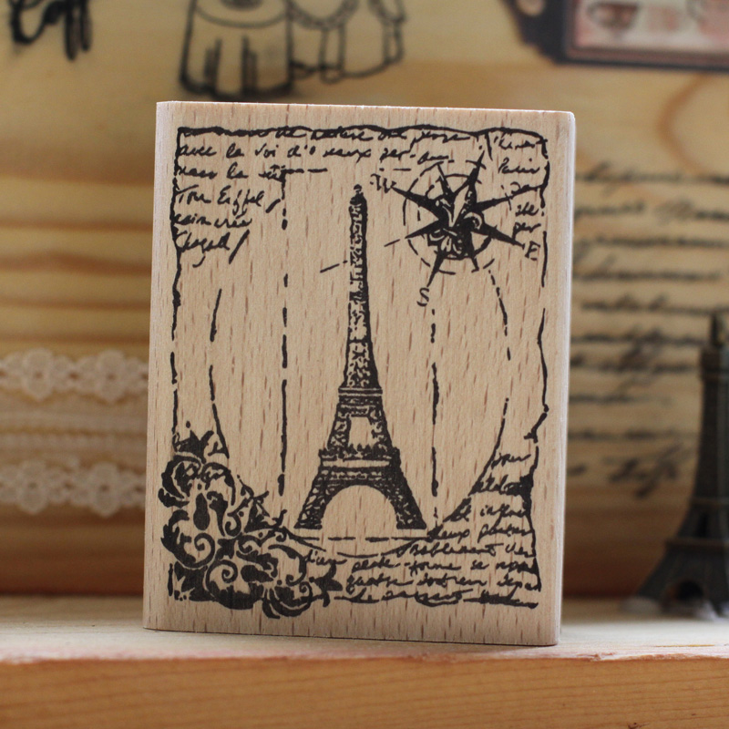 DIY vintage eiffel tower rubber wooden stamps for carimbo stempel postcard or bookmark scrapbooking stamp 6*5cm free shipping series s 3d puzzle paper diy papercraft double decker bus eiffel tower titanic tower bridge empire state building