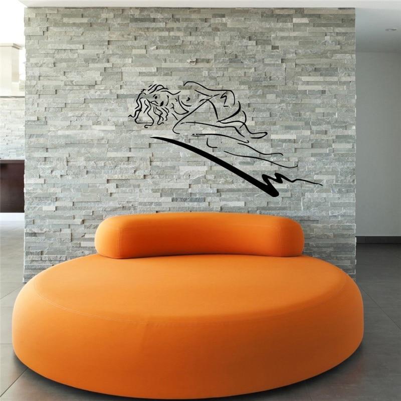 Sexy Girl Vinyl Wall Decal Beautiful Woman Naked Sleeping -8853