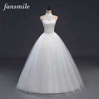 Fansmile Cheap Backless Vintage Lace Up Ball Wedding Dresses 2017 Bridal Dress Real Photo Wedding Gowns