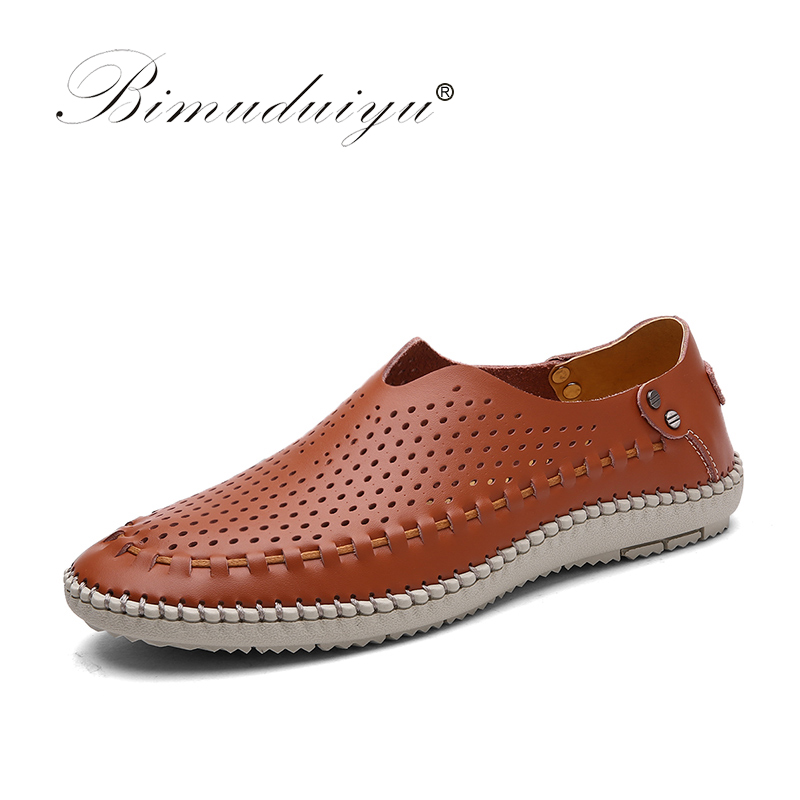 BIMUDUIYU Real Leather Men Casual Slip On Driving Shoes Handmade Hollow Out Male Flats Breathable Summer Round Toe Hombre Shoes 2017 new fashion summer spring men driving shoes loafers real leather boat shoes breathable male casual flats