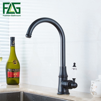 FLG Kitchen Faucet Black 360 Degree Oil Rubbed Bronze Blackened Faucet Washing Sink Classic Rotation Mixer
