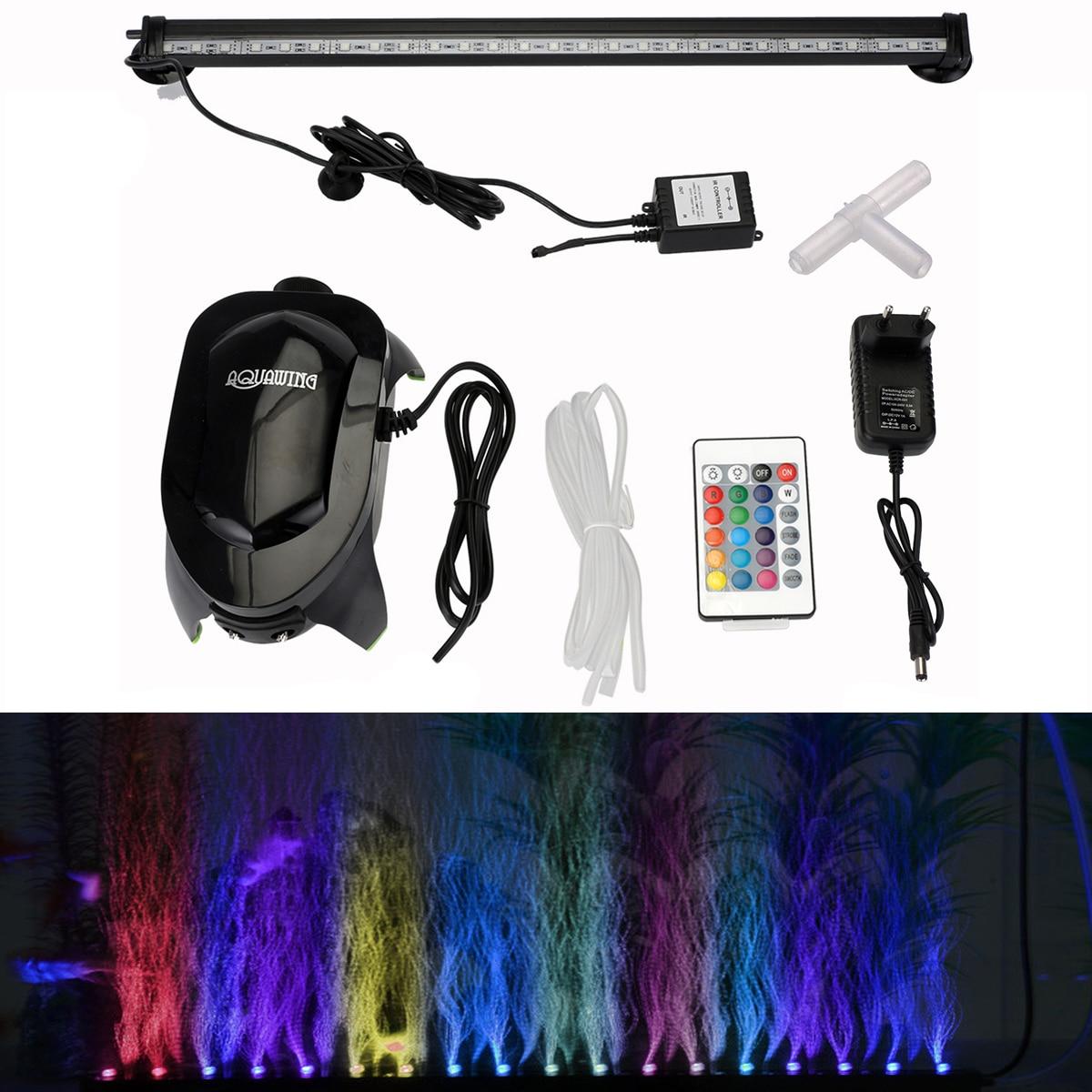 EU Plug Underwater Aquarium Fish Tank Air Bubble <font><b>Light</b></font> 5050 RGB <font><b>LED</b></font> Submersible Lamp + Increase Oxygen Air Pump + IR Remote