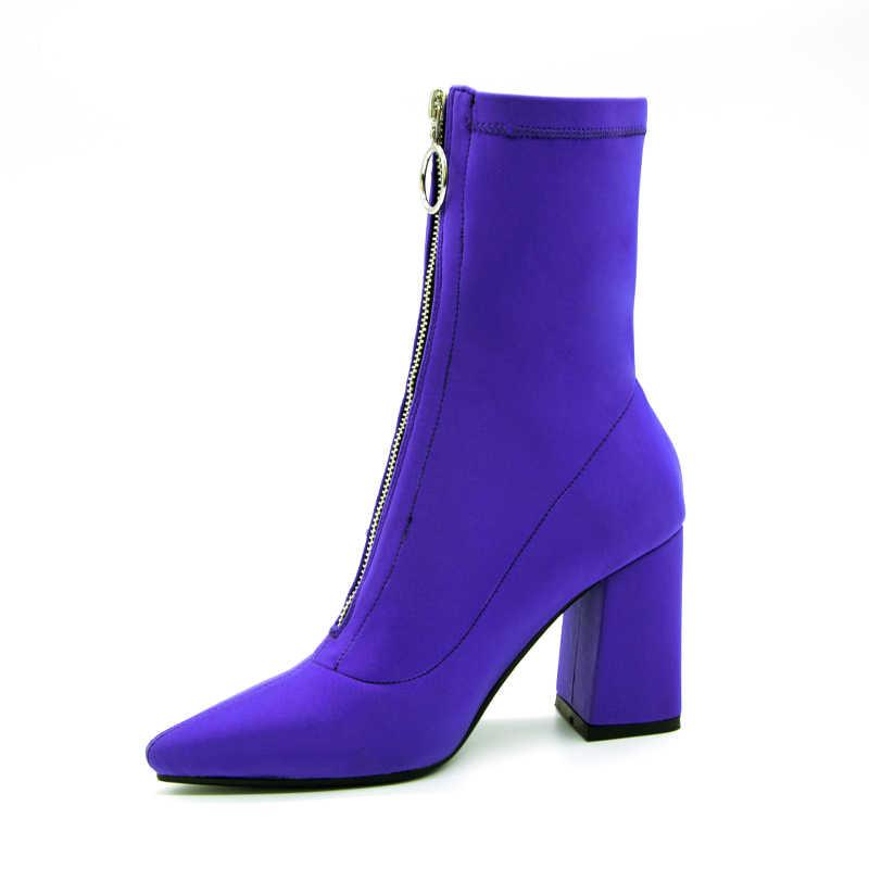 2018 Sonbahar Yeni mor Streç Örme moda yarım çizmeler Topuklu Kadın Kare Topuk Kısa Patik Sivri Burun 9 CM Yüksek Topuklu ayakkabı