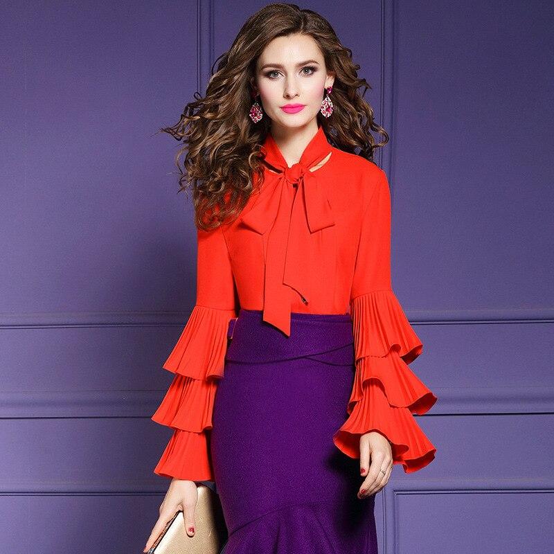 C010 Femme 2019 Orange La À Femmes Manches Papillon Blouse Taille Plus Longues Élégant Top Volants H4dpqq