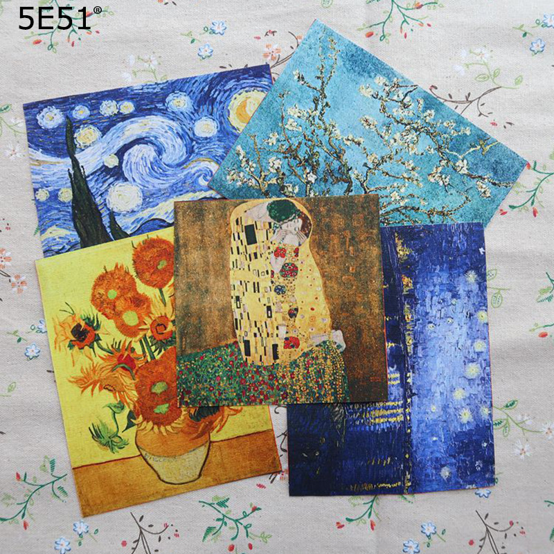 Handmade cloth DIY cotton canvas fabric /Van Gogh oil painting handmade cotton decorative painting(China)