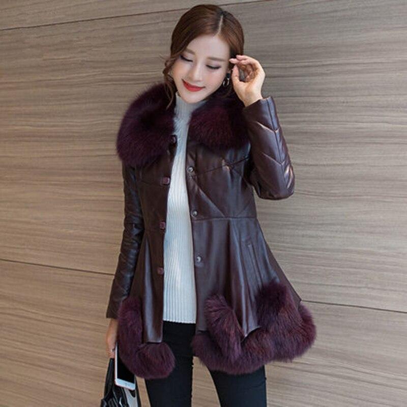 Cuir Mouton Renard Hf354 En gules Manteau Tempérament Veste Vêtements Taille violet Grande Femmes D'hiver Han De Col Peau Fourrure Édition Black WP8nxPwq