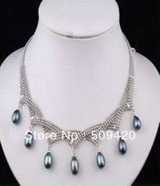 3daf25e5080f ٩( ‿ )۶~~ Envío libre  ¡ encanto! 7-9mm negro Akoya perla colgante ...