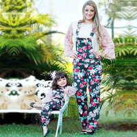 NEW Mother And Daughter Clothes Suspender Trousers Family Clothing Floral Rome Print Bib Pants Mommy And