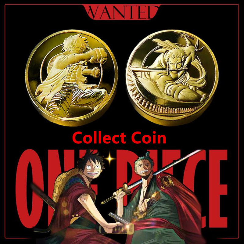 Hot New Anime One Piece Collect Coin Monkey D Luffy Roronoa Zoro Cosplay Badge Logo Golden Coin Originality Funny Fancy Gift
