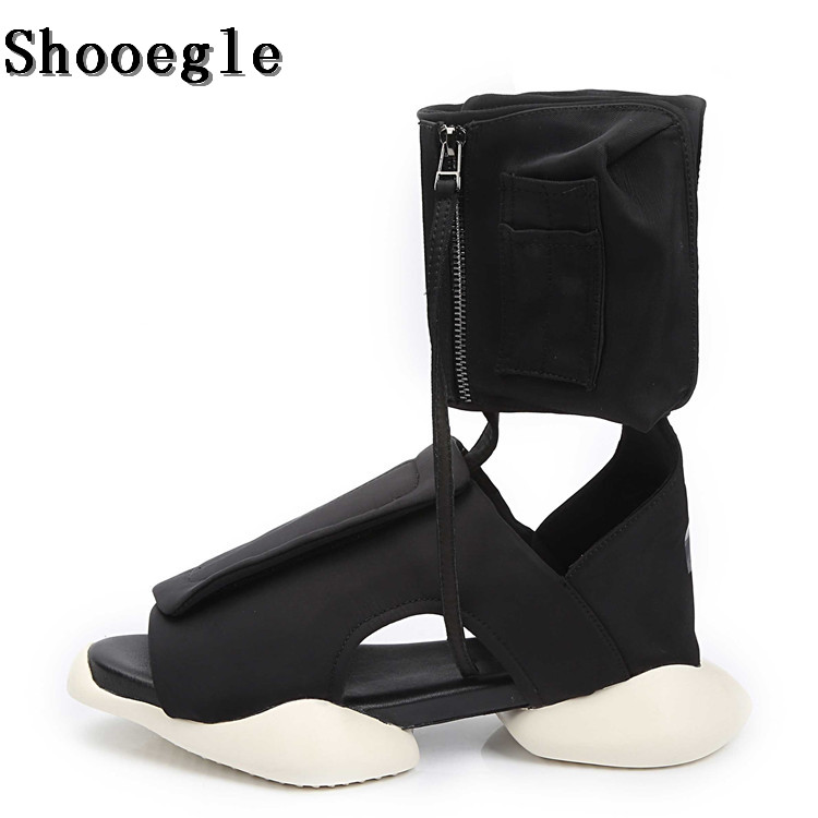 SHOOEGLE Summer Fashion Runway Men Knight Boots Black Comfortable Sandals Unisex Strange Platform Casual Sneakers Beach Shoes : 91lifestyle