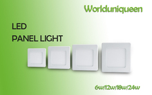 free shipping White Body Squre Surface Mounted Led Ceiling Panel Light 6W 12W 18W 24W