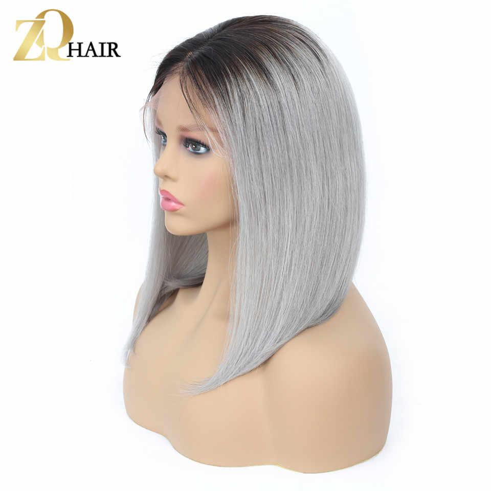 Glueless прямые синтетические волосы на кружеве парик 13x4 Боб Искусственные парики 1B/синий 27 Серый 99J красный розовый покраска методом Омбре человеческие вол...