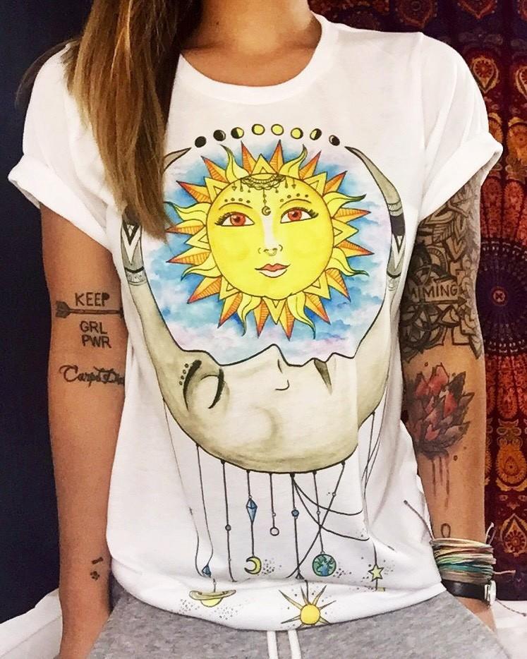 HTB1xg.WKXXXXXX9aXXXq6xXFXXX1 - New Fashion T-Shirts Female Retro Graffiti Flower Tops Tee Lady T Shirts
