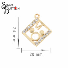 20pcs/lot Gold Alloy Crystal Mouse Head Dangle Charms Pendant Fit Necklace & Bracelet DIY Jewelry Making SJDC3072