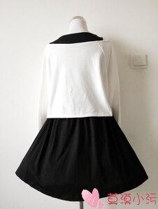 Image 2 - נשים Harajuku קומיקס ארנב שחור מלא שרוול שמלת יפני לוליטה גותי הדפסת ארנב Kawaii Vestidos חמוד ילדה Junior שמלות