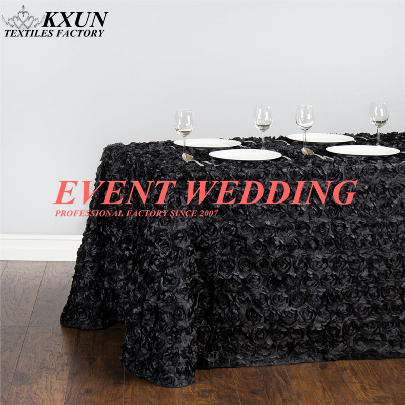 Rectangle Satin Rosette Table Cloth Wedding Tablecloth Colors Event Party Decoration