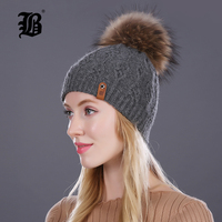 FLB Winter Hats For Women Pom Poms Real Mink Fur Wool Knitted Hat Beanie New