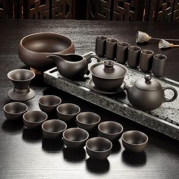 Set de té de arena púrpura Yixing, tetera de kungfú de cerámica negra/roja, tetera de arena púrpura hecha a mano, tetera, tetera, ceremonia del té gaiwan Tureen Sets de juegos de té Hogar y jardín -